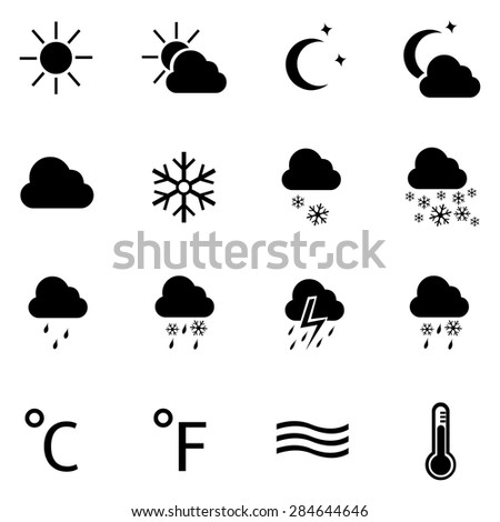 Vector Set of 16 Black Weather Icons