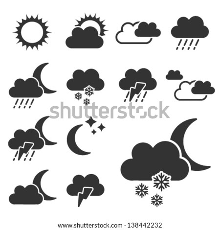 Vector set of black weather symbols - sign, icon - stock vector