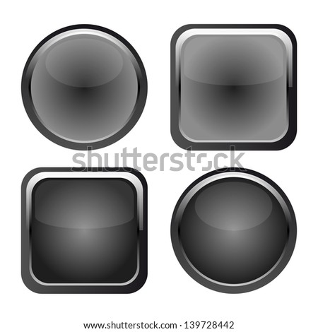 vector set of black web buttons for website