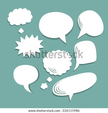 Vector set of blank comic speech bubbles - stock vector