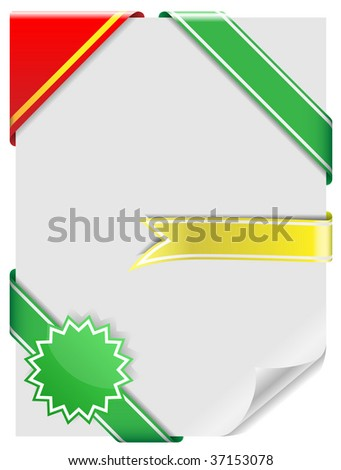 Vector set of blank decorative corner ribbons isolated on white background. - stock vector