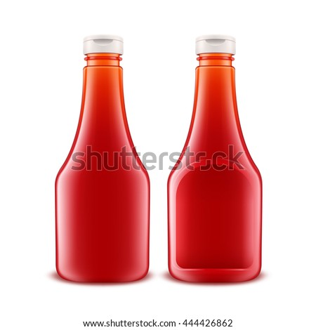 Vector Set of Blank Glass Plastic Red Tomato Ketchup Bottle for Branding without label Isolated on White Background