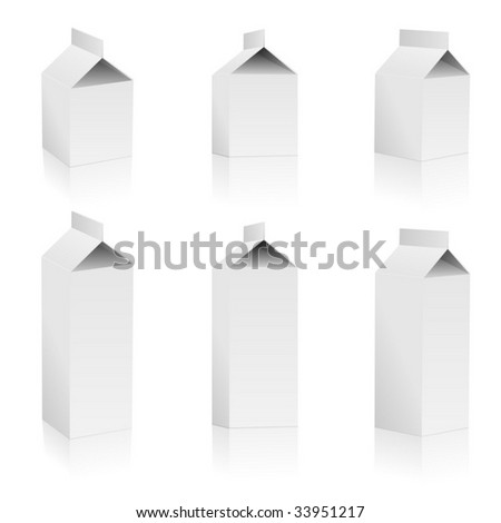 Vector set of blank milk packs isolated on white background. - stock vector