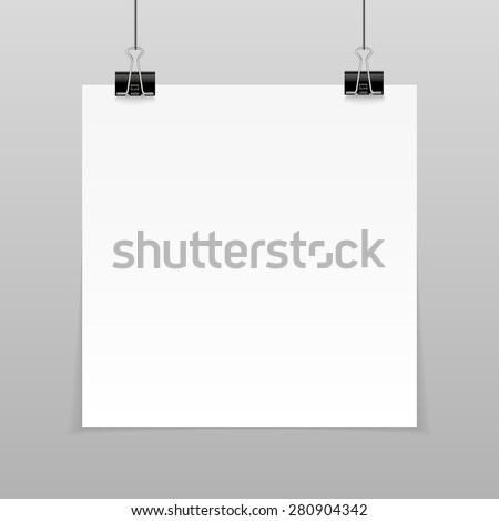Vector set of blank paper sheet on a rope - stock vector