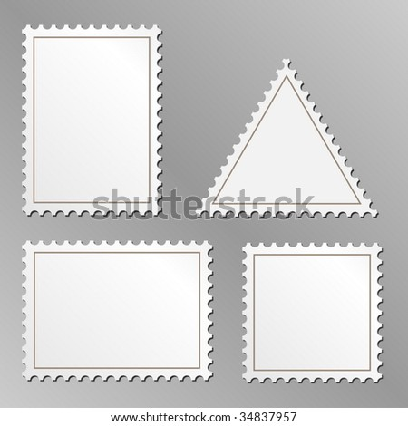 Vector set of blank postage stamps isolated on grey background. - stock vector