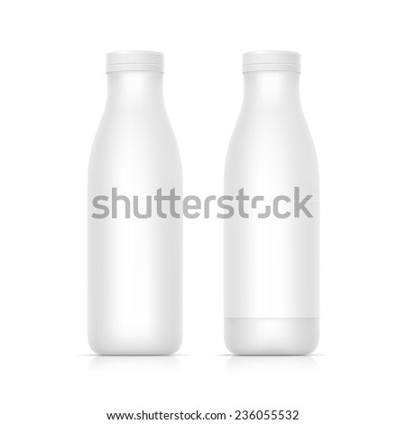 Vector Set of Blank White Bottles for Milk or Yogurt - stock vector