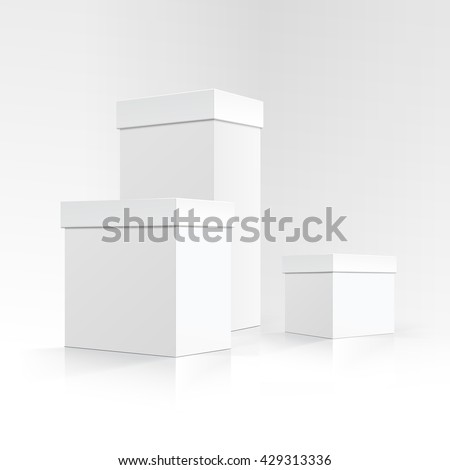 Vector Set of Blank White Carton boxes of different sizes and shapes in Perspective for package design Close up Isolated on White Background - stock vector
