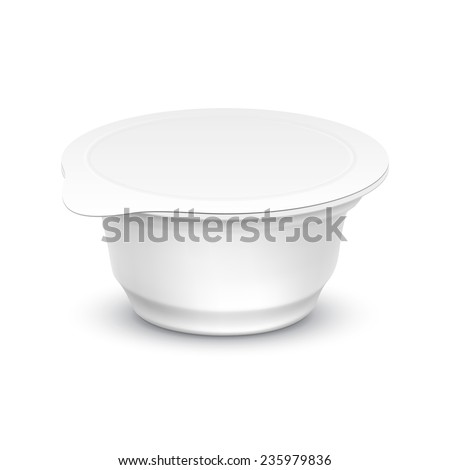 Vector Set of Blank White Packaging Container for Yogurt, Ice Cream or Dessert - stock vector