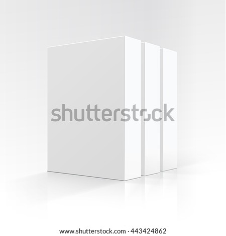 Vector Set of  Blank White Vertical Rectangular Carton boxes in Perspective for package design Close up Isolated on White Background - stock vector