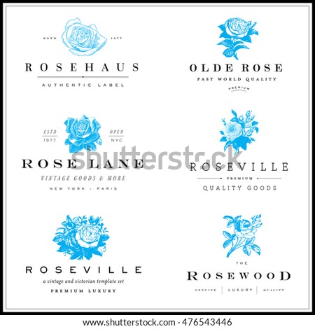 Vector set of blue rose and floral icons. Easy to edit.