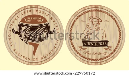 vector set of boards for pizza with inscriptions and symbols for menu - stock vector