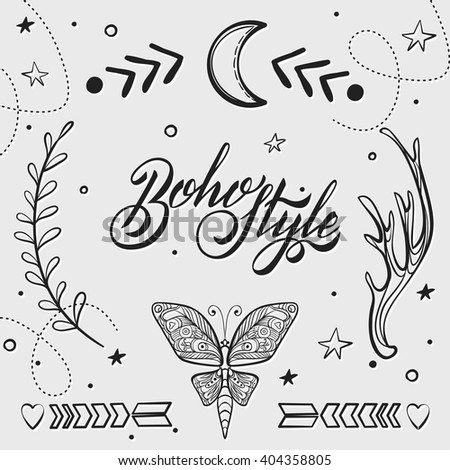 Vector Set Of Boho Style Elements Lettering Calligraphy Text Tattoo Template Trendy Hand