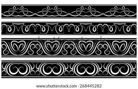 Vector set of borders. White repeating pattern on black - stock vector