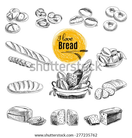 Vector set of bread and bakery products. Vector illustration in sketch style. Hand drawn design elements. - stock vector