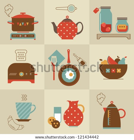 Vector set of breakfast food and devices icons - stock vector
