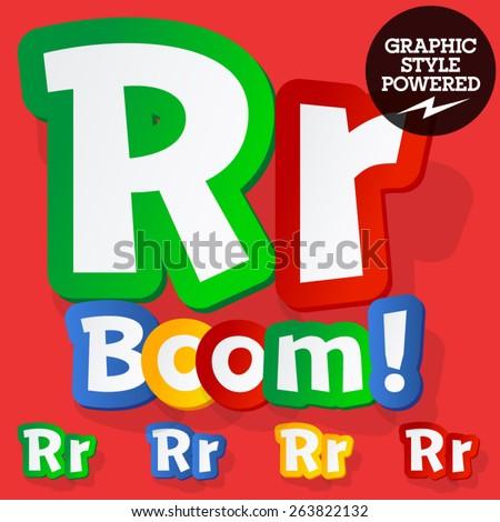 Vector set of bright colorful alphabet for children. Playful sticker font. Letter R - stock vector