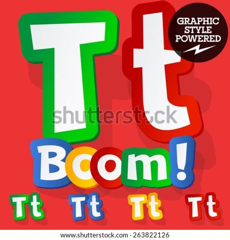 Vector set of bright colorful alphabet for children. Playful sticker font. Letter T - stock vector