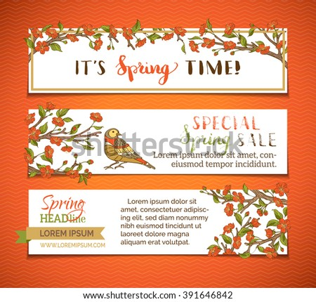 Vector set of bright horizontal spring banners. Red blossoms, leaves and birds on tree branches. It's spring time! Special spring sale. There is place for your text on white background. - stock vector
