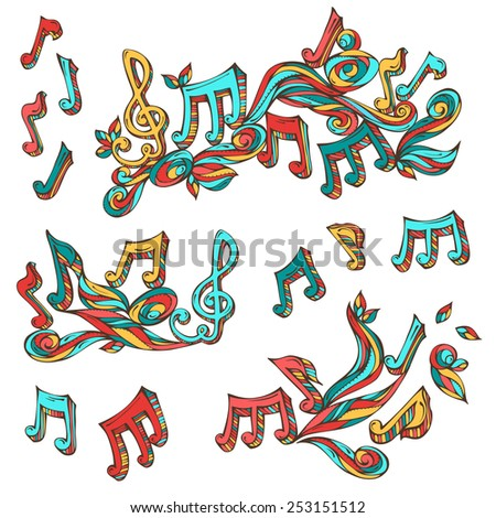 Vector set of  bright retro music page decorations. Page dividers, vintage design elements and page decoration with music notes and treble clefs isolated on white background. - stock vector