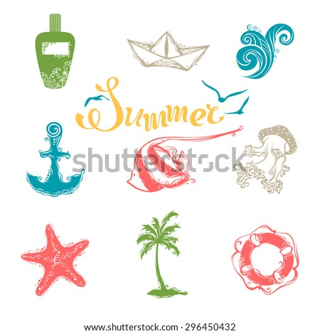 Vector set of bright summer and travel symbols. Vintage icons for your tropical design isolated on white background.  - stock vector