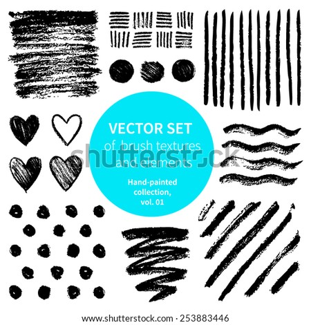 Vector set of brush textures and elements.Hand-painted collection. - stock vector