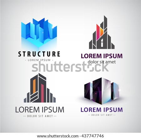 Vector set of building logos. 3d structure, house, office building, property logos, icons isolated