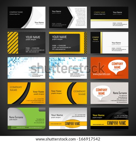 Vector set of business card templates - stock vector