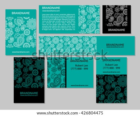 Vector set business cards banners oriental stock vector 426804475 vector set of business cards and banners with oriental pattern paisley and mandala modern colourmoves