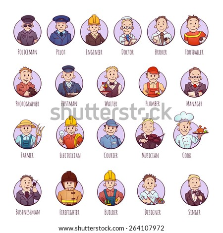 Vector set of business people, such as policeman, doctor, worker and other. - stock vector
