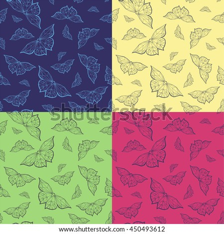 Vector set of butterflies pattern. Abstract seamless background.