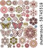 Vector Set of 50 buttons, design elements - stock photo
