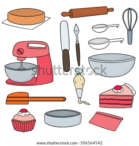 vector set of cake making equipment