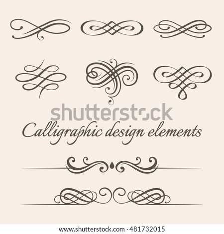 Vector Set Calligraphic Page Decoration Design Stock 481732015