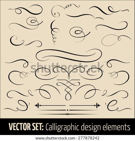 Vector set of calligraphic and page decoration design elements. Elegant elements for your design. - stock vector