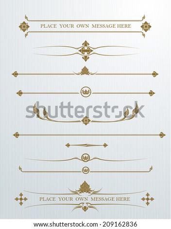 Vector set of calligraphic design elements - stock vector