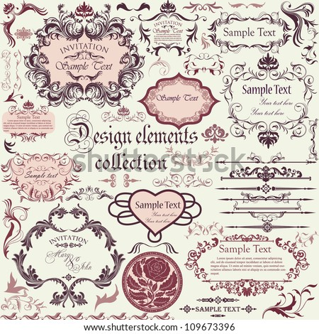Vector set of calligraphic design elements and floral frames - stock vector