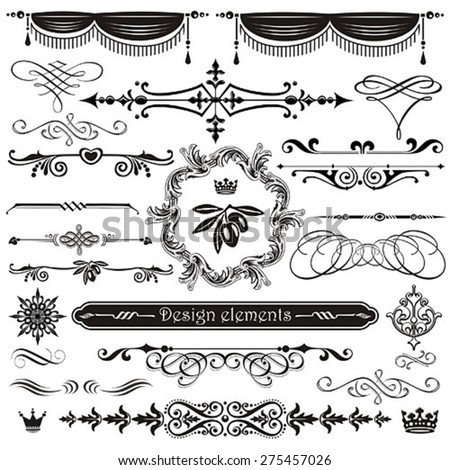 Vector set of calligraphic design elements and page decor - stock vector