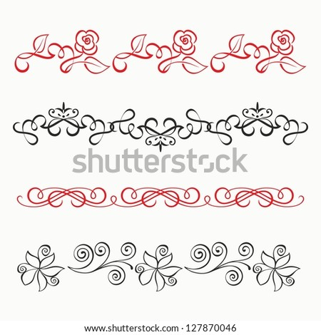 Vector set of calligraphic design elements and page decor. Collection of floral dividers. - stock vector