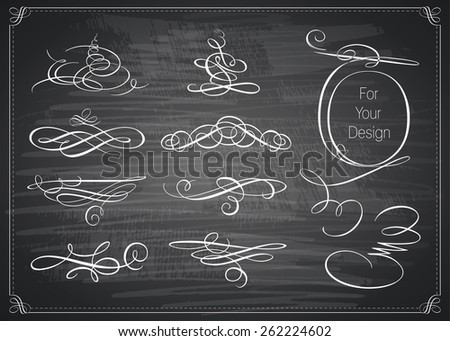 Vector set of calligraphic design elements. Chalkboard background. Black illustration variant. - stock vector