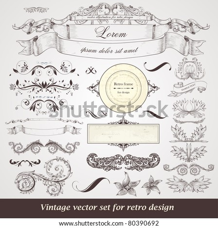 vector set of calligraphic design elements: frames, ribbons, floral ornaments with flowers for decoration - stock vector