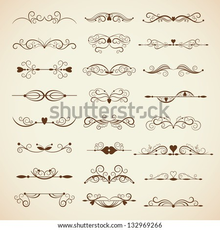 Vector set of calligraphic design elements, page decor - stock vector