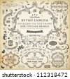 Vector set of calligraphic design elements: page decoration, Premium Quality and Satisfaction Guarantee Label, antique and baroque frames and floral ornaments | Old paper texture with grunge frames. - stock