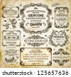 Vector set of calligraphic design elements: page decoration, Premium Quality and Satisfaction Guarantee Label, antique and baroque frames | Old paper texture with dirty footprints of a cup of coffee. - stock photo