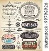 Vector set of calligraphic design elements: page decoration, Premium Quality and Satisfaction Guarantee Label, antique and baroque frames   Old paper texture with dirty footprints of a cup of coffee. - stock vector