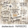 vector set of calligraphic design elements, page decoration, Premium Quality, Awesome and Satisfaction Guarantee Label collection, Vintage wood background - stock