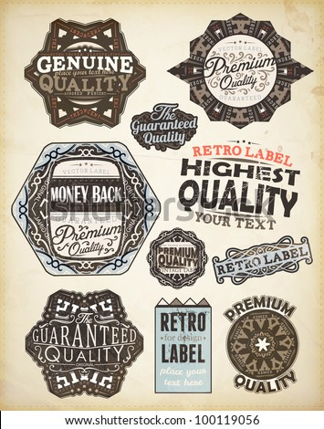 Vector set of calligraphic design elements: page decoration, Premium Quality, Genuine and Highest Quality Labels | Old paper texture with dirty footprints of a cup of coffee. - stock vector
