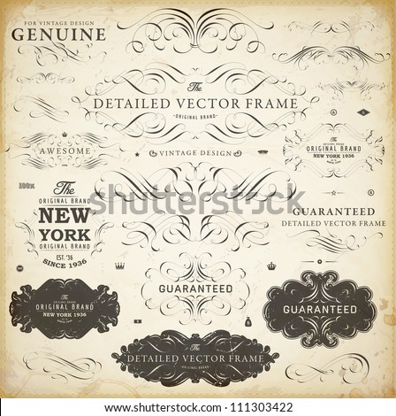 Vector set of calligraphic design elements: page decoration, Satisfaction Guarantee Label, calligraphic frames | Old paper texture with dirty grunge footprints of a cup of coffee. - stock vector
