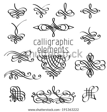 Vector set of calligraphic design elements. Page decorations, dividers, vintage frames and headers. - stock vector