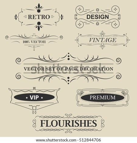 Vector set of calligraphic design elements. Vintage frame with text.