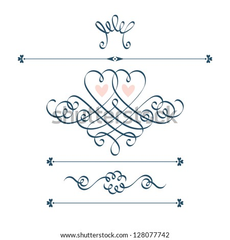 Vector set of calligraphic design elements with motive couple of hearts, crown, flower. Abstract cute decorative hand drawn illustration for original greeting, invitation card Valentine's Day, wedding - stock vector